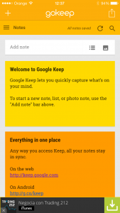 GoKeep, aplicación no oficial per Google Keep a iOS