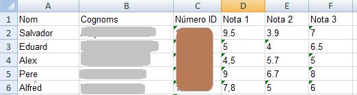 Taula d'Excel amb qualificacions
