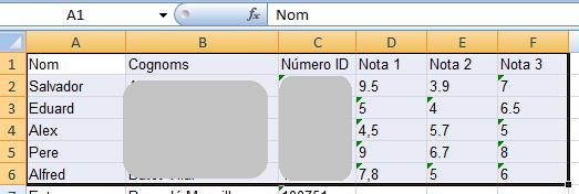 Selecció de qualificacions d'Excel