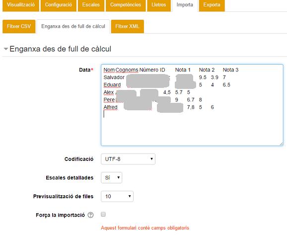 Qualificacions d'Excel a Moodle